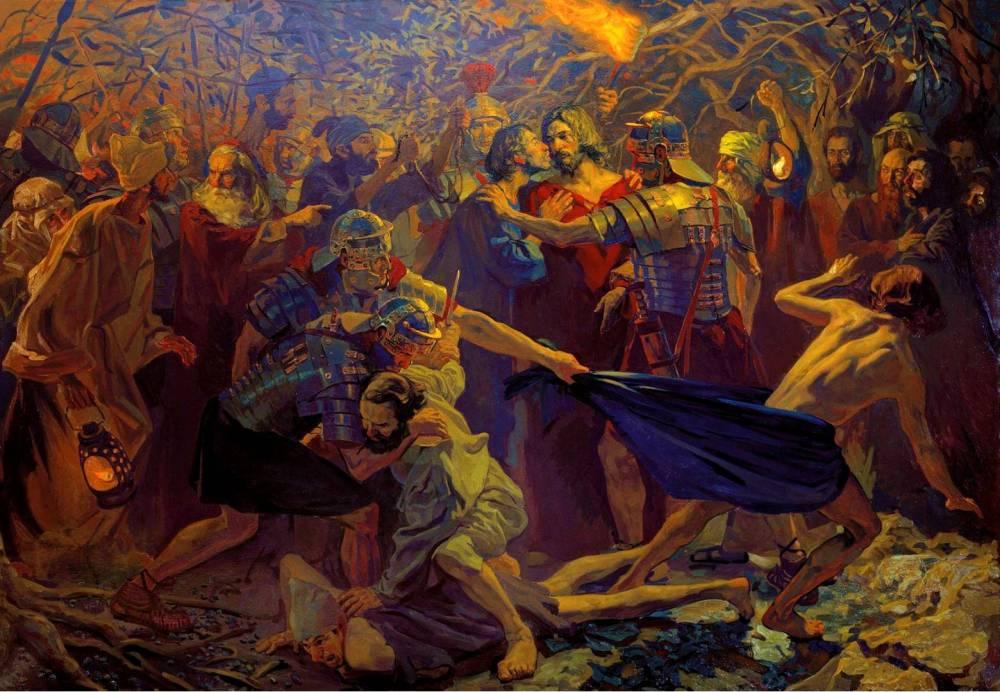 Pavel_Popov_Judas_betrays_Christ_with_a_kiss